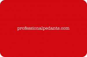 Professional Pedants business card (back)