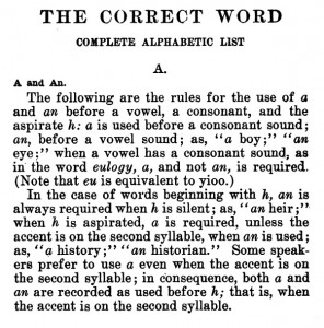 Baker, Josephine Turck, The correct word - A, An