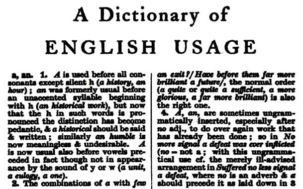 HW Fowler, A Dictionary of English Usage